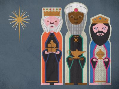 Nativity (3 king character development) 3 kings wise men north star texture illustration nativity