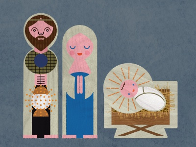 king sized bed nativity illustration texture
