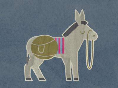 in the morning, i'm making waffles... nativity donkey illustration texture