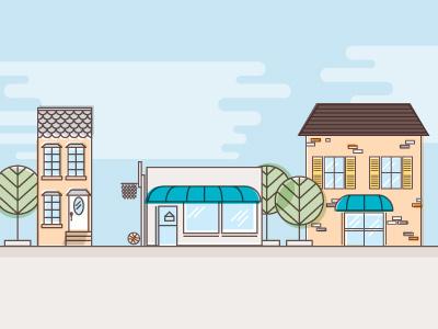 Neighborhood illustration house shop tree cloud ball street