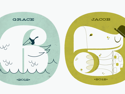 Numbers 6 & 3 for my kid's b-days animal kids pompadour numbers illustration swan turtle texture icon