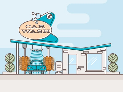 Carwash car wash car building illustration