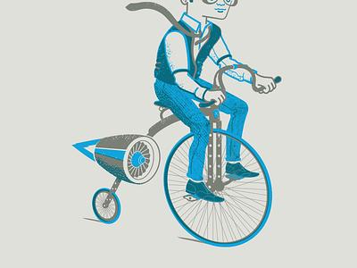Artcrank poster artcrank bike penny-farthing jet illustration screen print