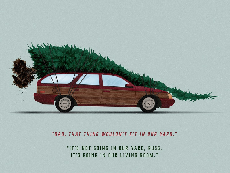 The old front-wheel drive sleigh merry christmas quote movie ford ford taurus woody wood paneling texture illustration sleigh christmas tree griswolds christmas clark griswold chevy chase national lampoon