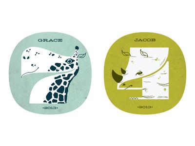 Grace & Jacob 2013  illustration pompadour numbers kids animals giraffe rhino texture