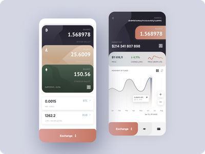 Cryptocurrency wallet concept with currency exchange wallet cryptocurrency crypto wallet crypto ui  ux ui mobile app