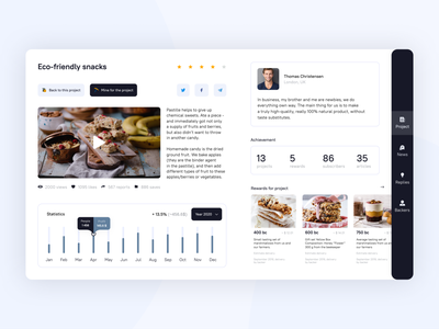 Food project on crowdfunding platform mining food statistics interface design desktop ui app