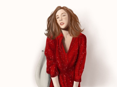 Lady in red design painting drawing graphic art procreate illustraion