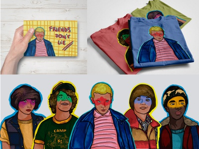 Stranger Things huion dustin will lucas mike eleven graphic design strangerthings mockup design illustration