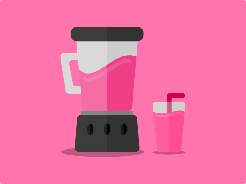 Blended to Perfection pink smoothie blender design illustration flat icon vector