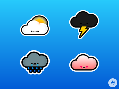 Pillow Stickers emotions collection cloud smile sticker branding blue design flat illustration icon vector