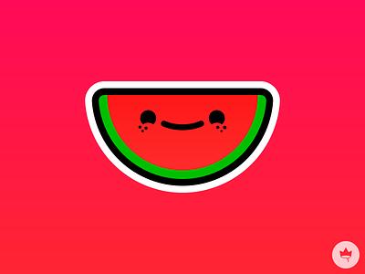 Happy Watermelon freckles happy watermelon smile pink sticker branding design flat illustration icon vector