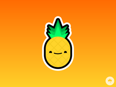 Happy Pineapple smile pineapple yellow orange sticker design flat illustration icon vector