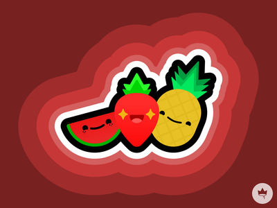 Happy Fruit yellow red pink watermelon strawberry pineapple fruit smile sticker design flat illustration icon vector