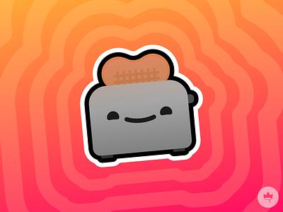 Toasty toast toaster yellow pink smile sticker design flat illustration icon vector