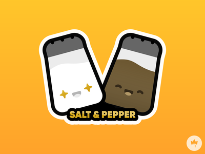 Salt & Pepper food besties pepper salt orange yellow smile sticker design flat illustration icon vector