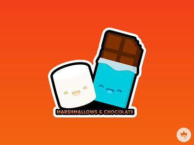 Marshmallows & Chocolate graphic design marshmallow chocolate brown white orange sticker design flat illustration icon vector