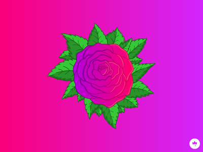 Rose background patch handmade purple pink rose logo branding sticker design flat illustration icon vector