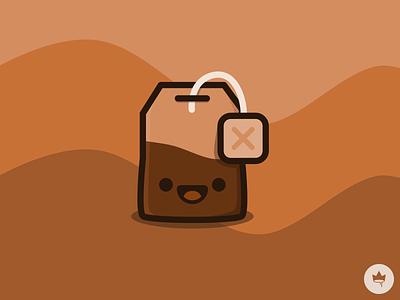 Tea Time :) monochromatic brown smile tea bag sticker icon design flat illustration vector