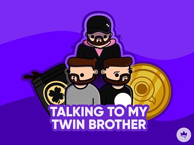 Twins... purple twins sean jacksepticeye promo branding sticker design flat illustration icon vector