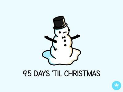 95 Days 'Til Christmas black white blue summer snow top hat fancy sad snowman winter flat sticker design illustration icon vector