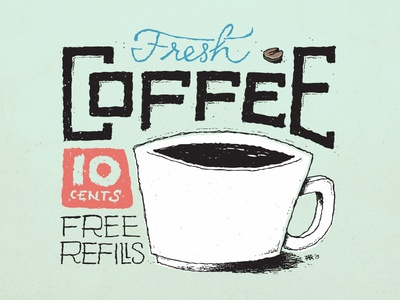 Fresh Coffee, Left-Handed: All Filled Up color coffee lettering hand-drawn red blue black white sea foam texture marker vector