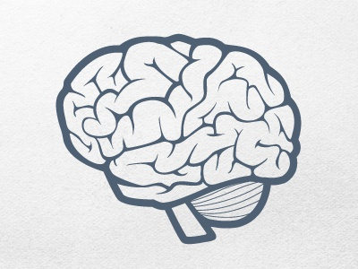 Vector Brain Icon Final brain icon vector hand drawn illustration illustrator line drawing blue white texture