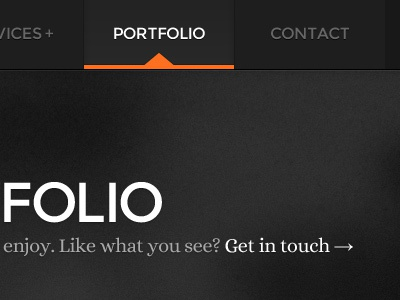 Portfolio Page & Nav Menu portfolio navigation nav hover active menu list typography sans sans serif serif texture noise large type arrow shadow orange black white grey