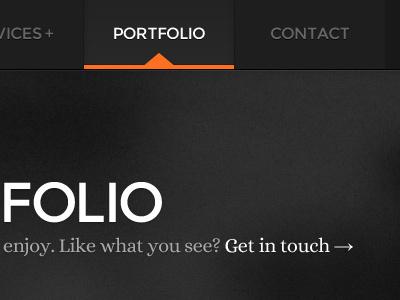 Portfolio Page & Nav Menu portfolio navigation nav hover active menu list typography sans sans serif serif texture noise large type arrow shadow orange black white grey