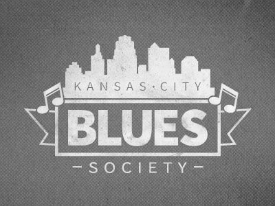 Kansas City Blues Society Logo (WIP) white logo mark identity grey texture music blues kansas city music notes dark light classic bold lines sans