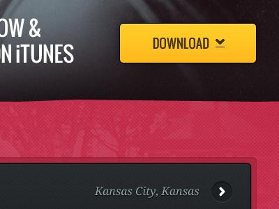 Download Kansas City download button yellow white charcoal grey dark light texture pattern serif sans serif arrow icon rounded corner stroke shadow photo inset