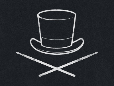 Drummer's Logo Mark drummer drums band music artist hat top hat drum sticks dark gritty texture white grey blue logo mark grunge