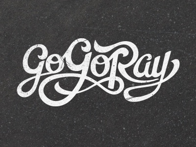 Go Go Ray Hand-Drawn Lettering text typography lettering white grey light dark texture loops logo marker
