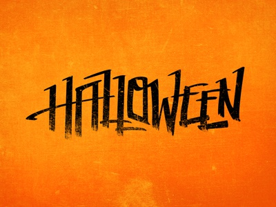 Hand-drawn Halloween Text halloween holiday orange black texture grunge text lettering illustrator vector marker hand-drawn