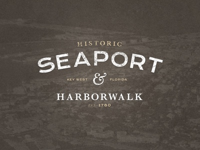 Historic Seaport & Harborwalk Logo type logo traditional tan brown white grunge texture sans serif