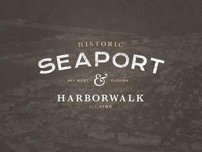 Historic Seaport & Harborwalk Logo type logo traditional tan brown white grunge texture sans serif
