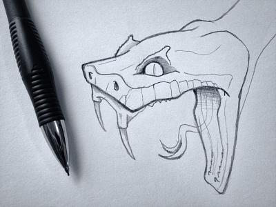 Snake Head Sketch sketch reptile snake black and white photo line work illustration pencil