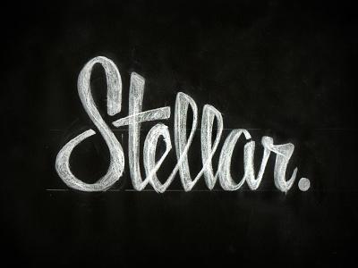 Stellar Round 2 text lettering hand drawn marker pencil custom stellar word mark logo white black texture script