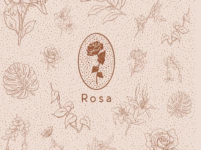 Rosa Cafe design logo floral product design drawing illustration