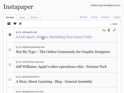 Instapaper2 instapaper redesign app application