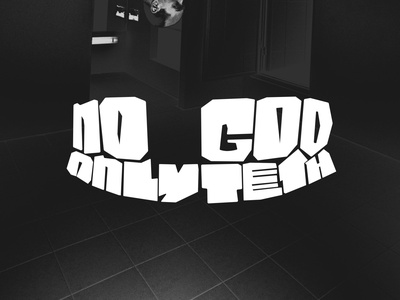No God Only Teeth negative space vector illustration logo flat
