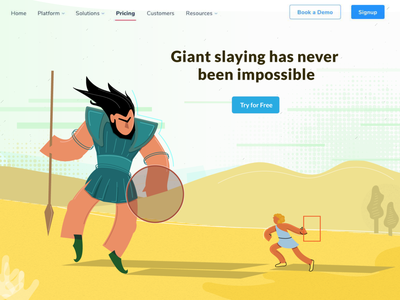 David vs Goliath digital illustration application header goliath david