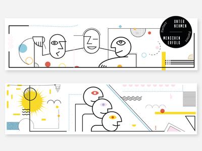 UM Header Illustrations illustration digital website human geometric headers digital illustration