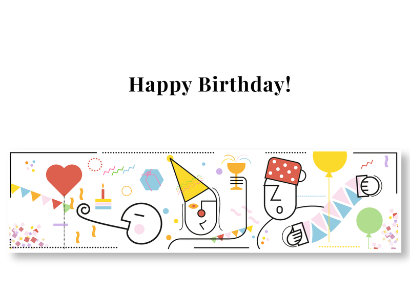 Happy Bday! music party balloon cheery geburtstag footer newsletter birthday
