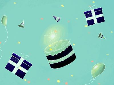 Birthday Things hand drawn photoshop presents cake illustration birthday