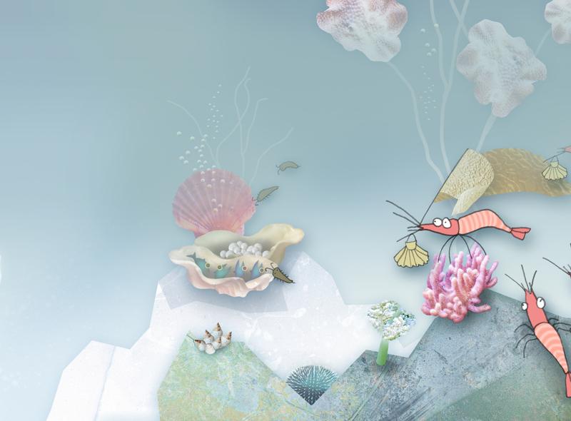 Shrimps in town illustration