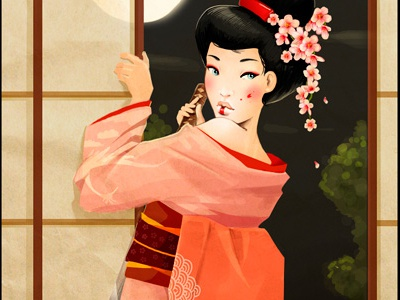 Geisha  illustration raster japan girl kimono katana art