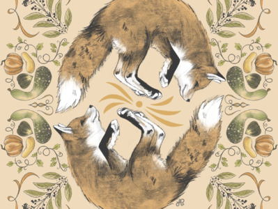 Harvest Fox fox autumn vintage design illustration