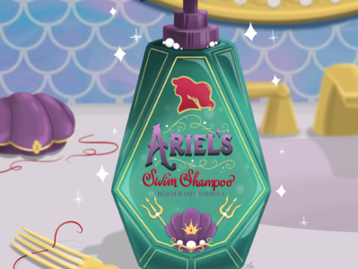 Princess Self Care Products: Ariel's Swim Shampoo mermaid princess product design product selfcare illustration