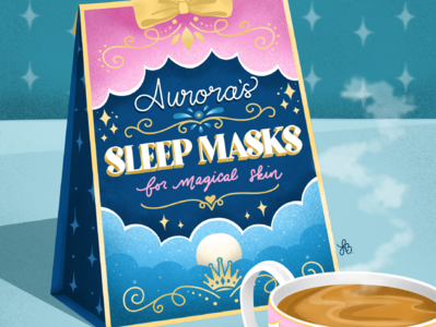 Princess Self Care: Aurora's Sleep Masks beauty product product design product branding princess design illustration